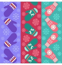 Christmas pattern with mittens vector image