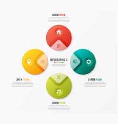 circle chart template with 4 options vector image