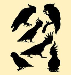 cockatoo birds animal silhouette vector image