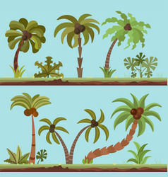 collection of palm trees cartooning flat vector image
