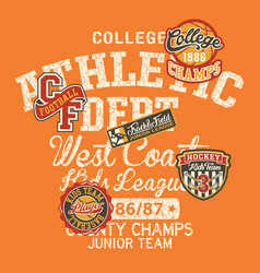 College athletic department kids league vector