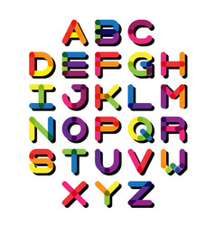 colorful font and alphabet vector image