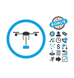 Copter Shipment Flat Icon with Bonus vector image