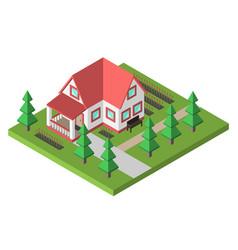 cozy house with garden vector image