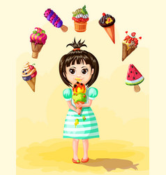 Cute girl eating ice cream template vector