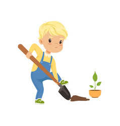 cute little boy character digging the hole by vector image