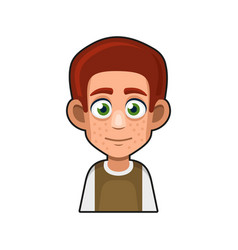 Cute redhead man avatar character cartoon style vector