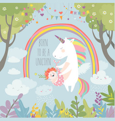 Cute unicorn with baby vector