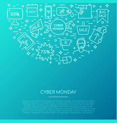 cyber monday icons collection banner with sale vector image