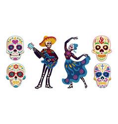 Day dead dia de los muertos characters vector
