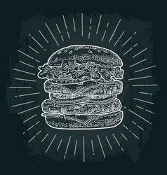 double burger include cutlet tomato cucumber and vector image