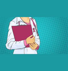 Female doctor wearing pink ribbon on coat world vector