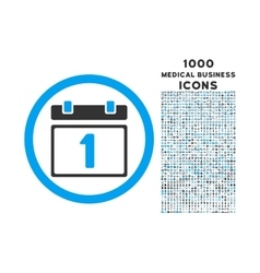 First Day Rounded Icon with 1000 Bonus Icons vector