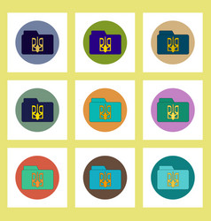 Flat icons set ukrainian national items concept vector