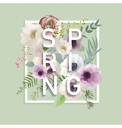 Floral Spring Graphic Design - with Anemone Flower vector