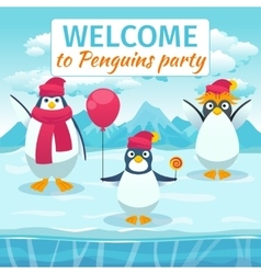 Funny penguins card or party invitation vector image
