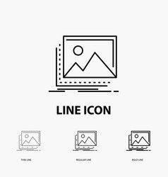 Gallery image landscape nature photo icon in thin vector