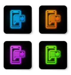 glowing neon mobile phone and shopping basket vector image