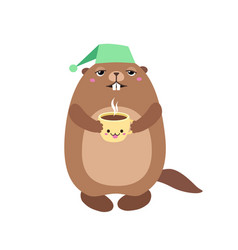 Groundhog holding a cup of coffee flat vector