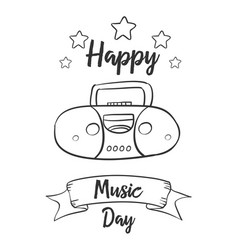 Hand draw music day art vector