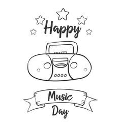 Hand draw music day art vector