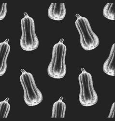 Hand drawn pumpkin seamless pattern vegetable vector