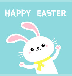 Happy easter rabbit bunny waving paw print hands vector