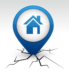 Home blue icon in crack vector