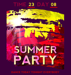 Hot summer background with bright color brush vector