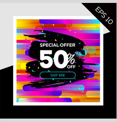 impressive sale layout with trendy colorful vector image