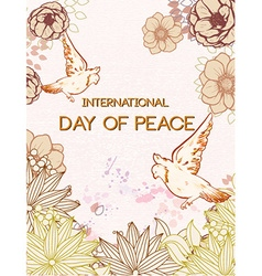 International Day of Peace with birds vector