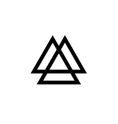 Interwoven triangles valknut sacred geometry logo vector