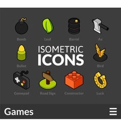 Isometric outline icons set 14 vector image