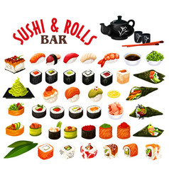 japanese sushi and rolls icons seafood vector image