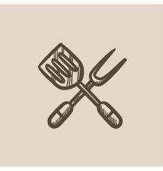 Kitchen spatula and big fork sketch icon vector