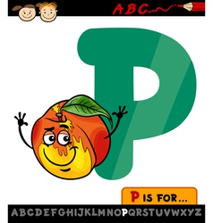 letter p with peach cartoon vector image vector image