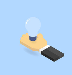 Light bulb in hand businessman isometric vector