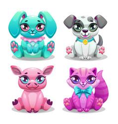 Little cute cartoon animals set vector