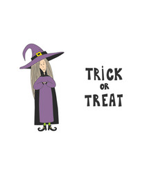 little cute witch halloween poster vector image
