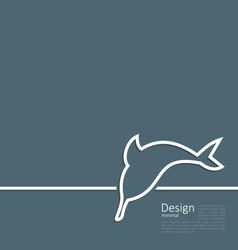 Logo of dolphin in minimal flat style line vector image