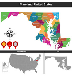 map maryland us vector image