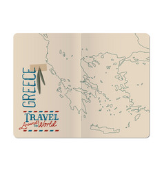 Map of greece drawn by hand in an open stapled vector