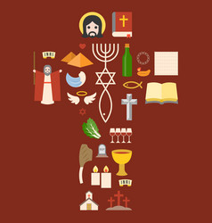 Messianic judaism sign and biblical icon vector
