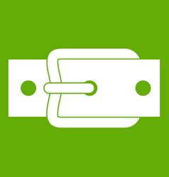 Metal belt buckle icon green vector
