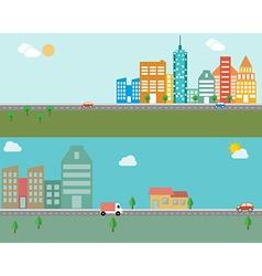 Modern banner set of urban landscape and city life vector image