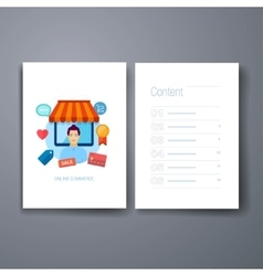 Modern online shopping and retail flat icons cards vector image
