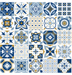 Moroccan pattern decor tile texture with blue vector
