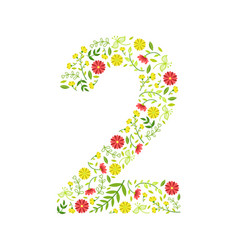 number 2 green floral number made leaves and vector image