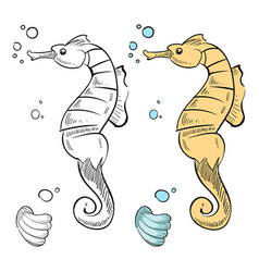 Ocean wild life coloring hand drawn sea horse and vector