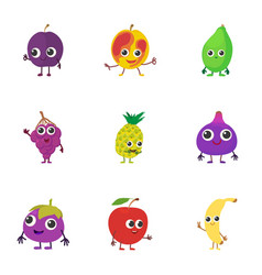 orchard icons set cartoon style vector image
